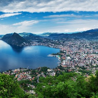 Lugano, Switzerland, May 12, 2018. Beautiful panoramic view of  Lugano city from Monte Brè Mountain.